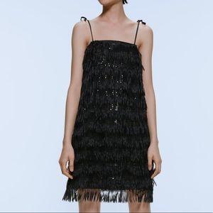 ZARA Sequin Fringe black Dress